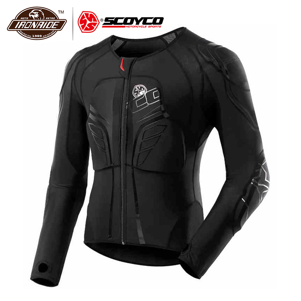 SCOYCO Men's Racing Motocross Protective Jacket Motocross Armor Racing Body Armor Black Motorcycle Jacket Soft Moto Armor M-3XL scoyco am05 racing motorcycle body armor protector black size m