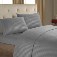 Striped Home Hotel Bed Sheets Set Flat Sheet+Fitted Sheet+Pillowcase Queen/ King Size Sabanas 12 Colors Comfortable Bedding Set