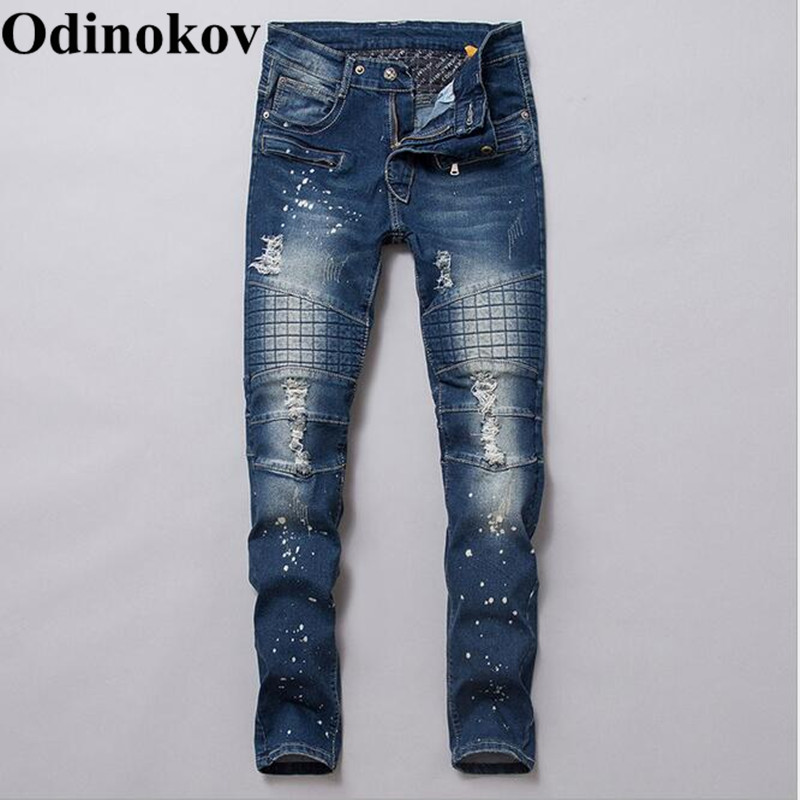Odinokov Autumn Winter Vintage Jeans Men High Quality Business Casual Denim Trousers Distressed Jeans Sale Price Jeans