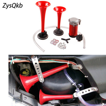 Loud 12V 135db Twin Trumpet Air Horn & Compressor Set Kit Car Boat Truck image