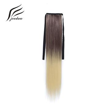 Jeedou wstążka kucyk przedłużanie włosów proste włosy Rainbow Ombre kolor 24 cal 60 cm 80g syntetyczny naturalny czarny różowy ponytails tanie i dobre opinie 1 sztuka tylko Wysokiej Temperatury Włókna 80 g sztuka Clip-in