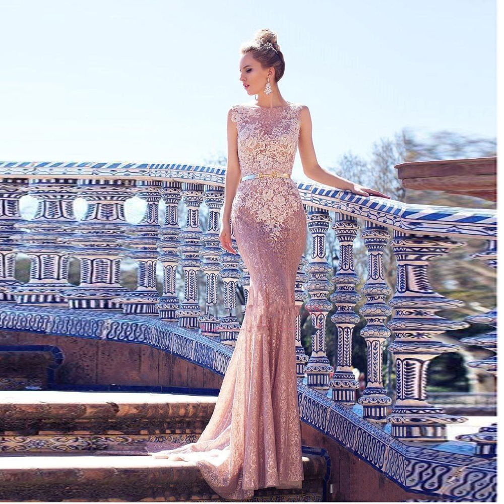 High End Blush Pink Lace Mermaid Prom Gowns 2019 Illusion