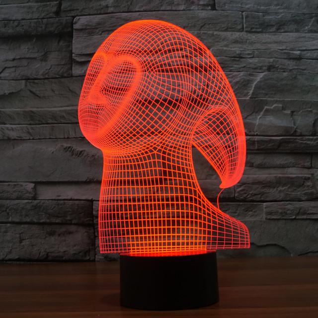 Precioso Forma de Fantasma Ilusión 3D LED Luz de La Noche de 7 Colores cambio de Lámpara del Dormitorio de la Lámpara de Mesa para la Fiesta de Los Niños Del Juguete Del Bebé regalo