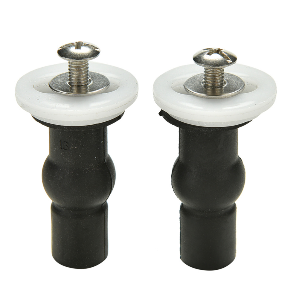 2x toilet Seat Hinges Blind Hole Fixings Expanding Rubber Top Fix Nuts Screws ZN