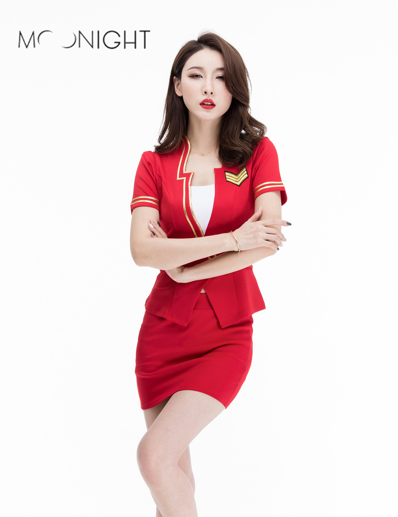 MOONIGHT 3 Colors Sexy Cosplay Uniform Erotic Airline Stewardess Costume Halloween Role Play Costume Top with Slim-cut Skirt