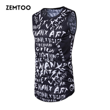 Fashion Men Summer Hip Hop Long Tank Tops Men's Casual Tee Tops Vest Fashion Sleeveless Cotton Male Personlity Tanks ZM0163