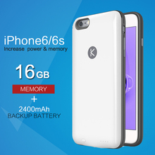 KUNER 16GB Memory & Extended Battery Case for iPhone6/6s iPhone 6 6s (4.7 inch) with 2400mAh Capacity