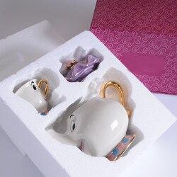 Новый чайный горшок с рисунком красавицы и чудовища, кружка Mrs Potts Chip, чайный горшок, один набор, прекрасный Рождественский подарок, быстрая д...