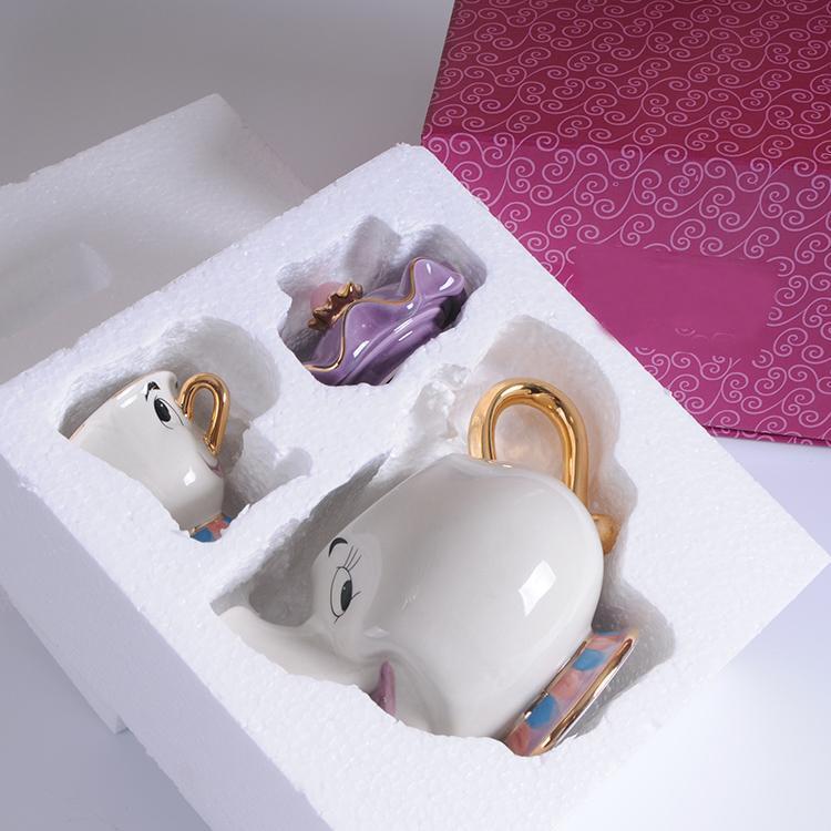 Baru Kartun Kecantikan dan Binatang Teko Mug Mrs Potts Chip Teh Pot Piala Satu Set Indah Hadiah Natal Cepat post