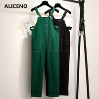 ALICENO 2XL 6XL Big Size Fitness Body Wear Schoolwear Ankle Length Solid Black Green Color Women Jumpsuits Overalls Bodysuit