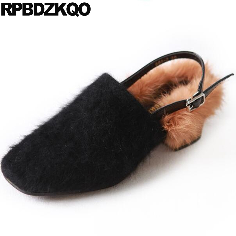 Slingback Chinese Vintage Women Designer Shoes China Elevator Flats Square Toe Fur Suede Thick Sole Black Sandals Factory Direct factory direct sale women cloth shoes new designer shoes bowknot casual shoes work flats