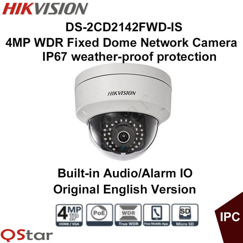 Hikvision Original English Version Surveillance Camera DS 2CD2142FWD IS 4MP WDR Fixed Dome IP Camera POE