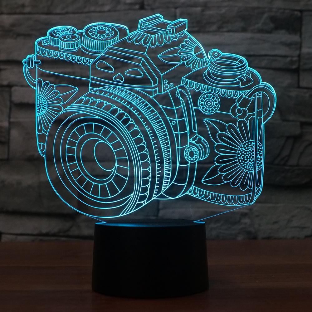Novelty 3D Lamp Camera Illusion LED USB Lamp Touch RGB 7 Color Changing Table 3D Night Light Bedside Decoration LED Lamp baymax big hero 6 touch switch led 3d lamp visual illusion 7color changing 5v usb for laptop desk decoration toy lamp