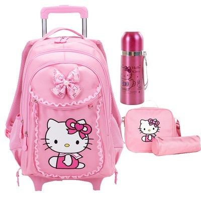 Free Shipping Hello Kitty Children School Bags Mochilas Kids Backpacks With  Wheel Trolley Luggage For Girls 9ad5f667bad18