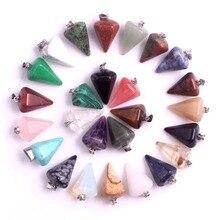 ขายส่ง 24 ชิ้น/ล็อตหินธรรมชาติ Amethystss เชอร์รี่ควอตซ์คริสตัล Charms จี้สำหรับสร้อยคอ Faceted Pendulum จัดส่งฟรี