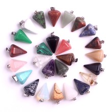Wholesale 24pcs/lot Natural Stone Amethystss Cherry Quartz Crystal Charms Pendants for Necklace Faceted Pendulum Free Shipping