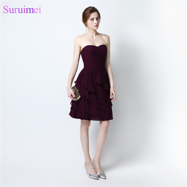 2017 Short Prom Dresses Chiffon Knee Length Dark Purple Cheap On ...