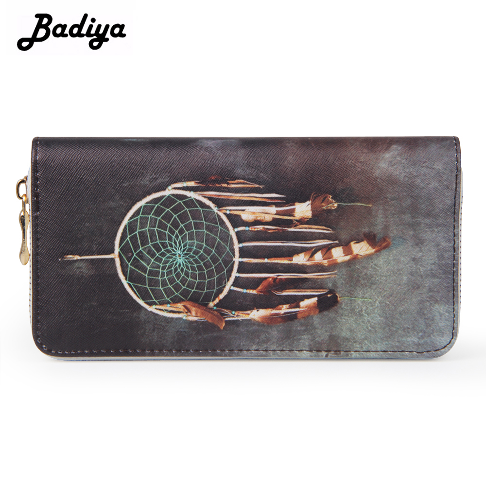 Badiya Fashion Long Sky Dreamcatcher Print Wallet Zipper PU Leather Card Slots Phone Bag Cash Purse Girls Clutch Wallets