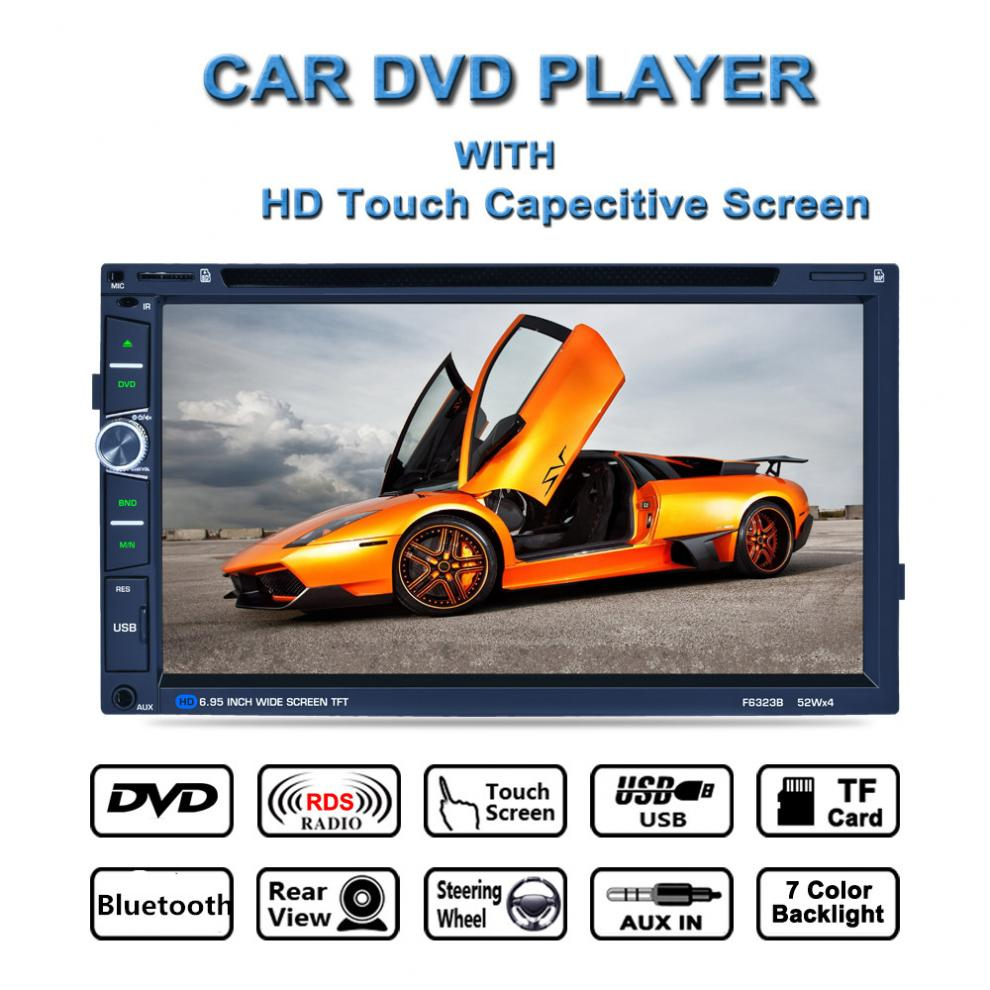 F6323B 7inch 2DIN DVD Car Radio Media Player BT/FM/AM/RDS Radio Tuner DSP Audio IC Capacitive Touch Screen Car Multimedia Player 9 inch car headrest dvd player pillow universal digital screen zipper car monitor usb fm tv game ir remote free two headphones