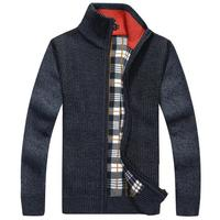 Brand New Warm Thick Velvet Cashmere Sweaters Men Pullovers Zipper Mandarin Collar Man Casual Clothes Solid