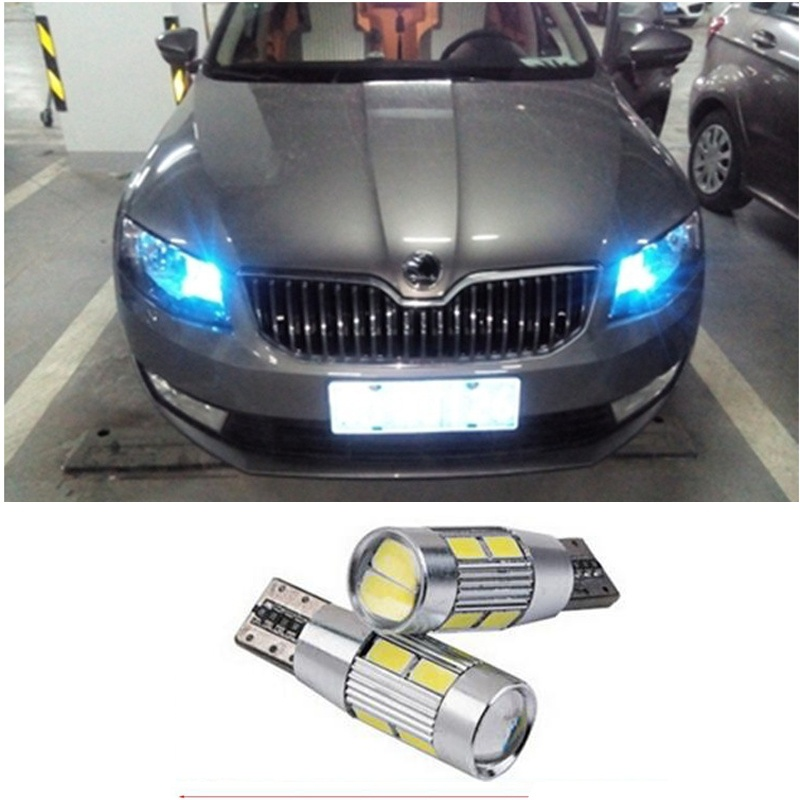 2 X T10 LED W5W Car LED Auto Lamp 12V Light bulbs with Projector Lens for skoda octavia rapid octavia a 5 a7 2 superb
