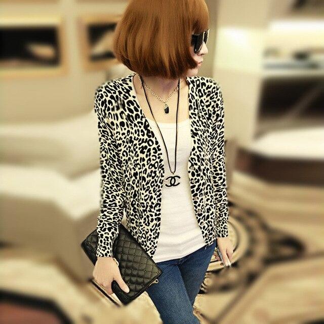 2016 Тонкий Вязаный Кардиган Куртки Верхняя Одежда Новых женщин Весной И Осенью Мода Sexy Leopard Кардиган Свитер A971