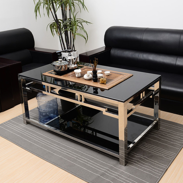 Coffee Rectangular Coffee Table Glass Small Apartment Tea Tables Automatic  Water Stainless Steel Teasideend