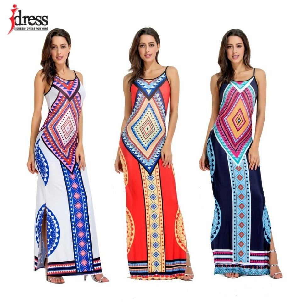 IDress 2018 spaghetti sukienka z paskiem, bez pleców, rozcięcia po bokach Sundress etniczne długie Maxi plaża sukienka z wycięciem na plecach