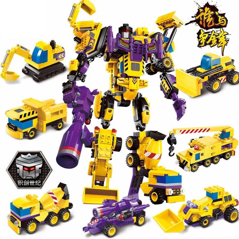 6 In 1 Mars Creator God of War Fight Optimus Prime Deformation Robot Legoings Building Blocks Kit Toys Gifts art of war