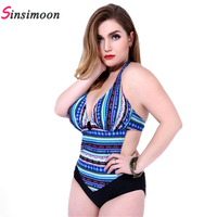 New 2016 Sexy Bandage One Piece Swimsuit Stripe Fashion Tide Swimming Suit For Women Maillot De