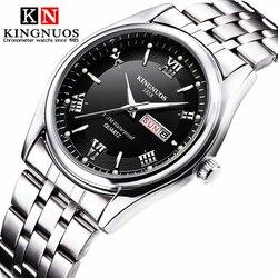 Relogio Masculino luksusowa marka wyświetlacz analogowy ze stali nierdzewnej data tydzień wodoodporny męski zegarek kwarcowy biznes męskie zegarki na rękę w Zegarki kwarcowe od Zegarki na