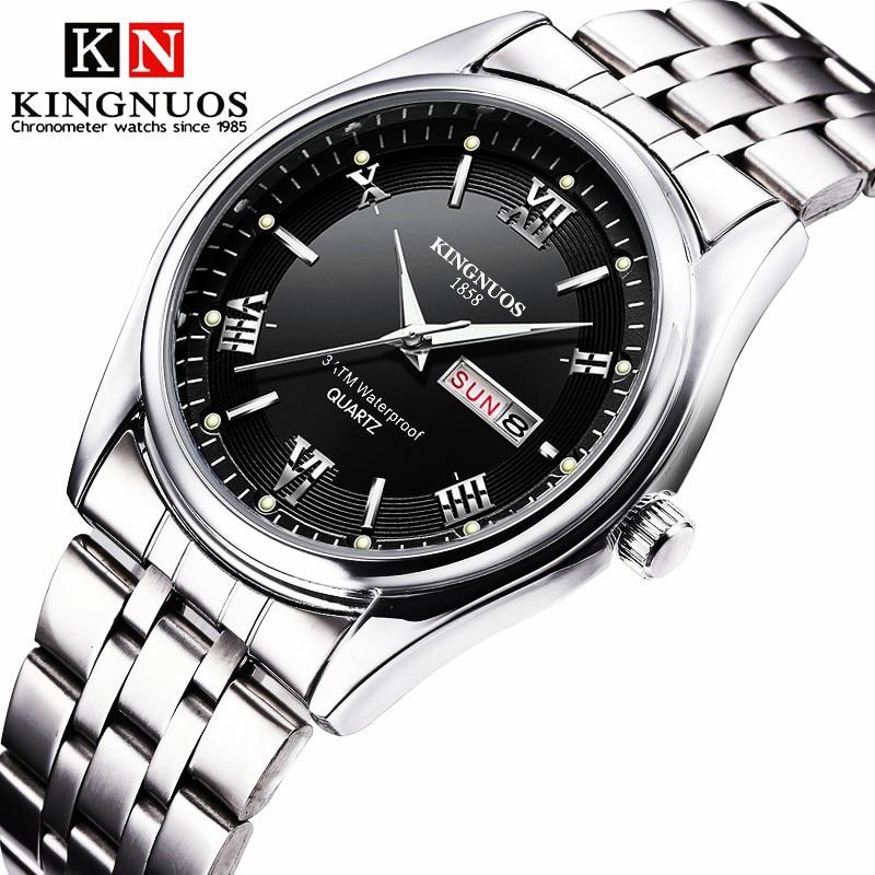 Relogio masculino Marca de Luxo Em Aço Inoxidável Analógico Data de Exibição Semana Negócio Relógio Masculino relógios de Pulso de Quartzo dos homens À Prova D' Água