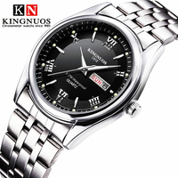 Relogio masculino marca de luxo aço inoxidável analógico display data semana à prova dwaterproof água relógio de quartzo masculino negócios relógios de pulso|Relógios de quartzo| |  -