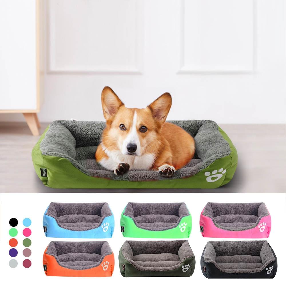 Cama para pequeno médio grande cão à prova dwaterproof água macio velo quente gato cama casa cama cama cama cama S-3XL 10 cores pata pet sofá camas do cão