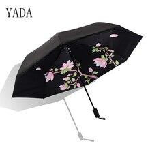 YADA Custom Black Flowers Charms Umbrella Rain Women uv High Quality For Womens brand Windproof Folding Umbrellas YS110