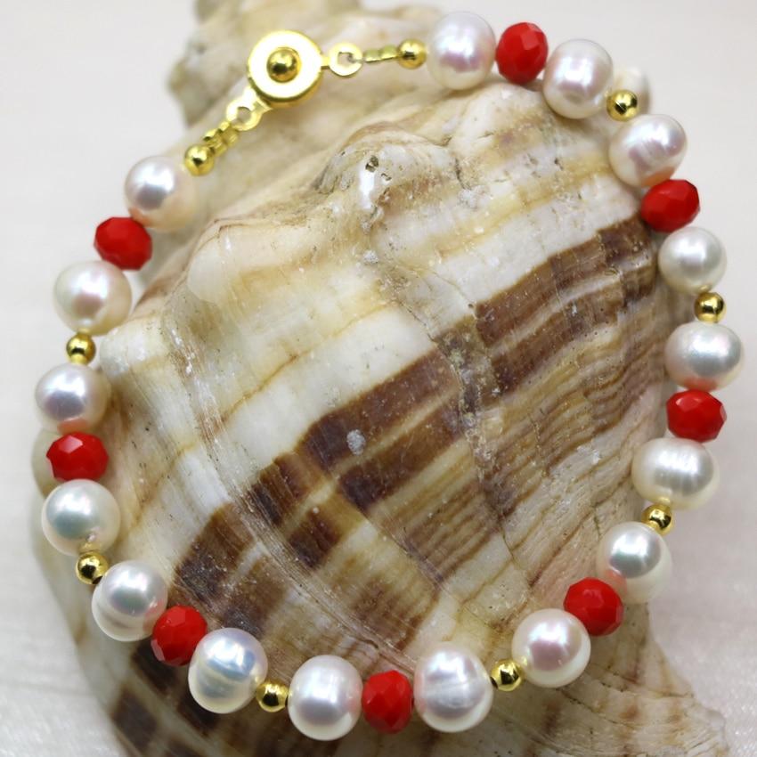 f4eddb45564c Bohemia estilo natural 8-9mm blanca cultivada perla perlas encantos pulseras  para las mujeres joyería DIY elegante 7.5 pulgadas B2990