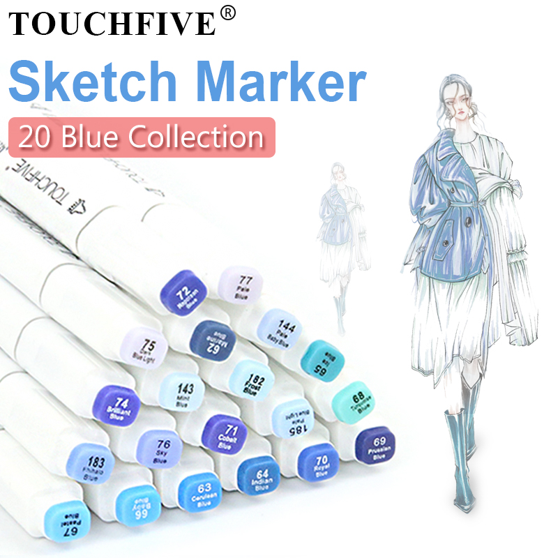 TOUCHFIVE 20 Blue Design Colors Marker Pen Set Alcohol Based Markers Sketch Dual Brush For Drawing Manga Art Supplies PensTOUCHFIVE 20 Blue Design Colors Marker Pen Set Alcohol Based Markers Sketch Dual Brush For Drawing Manga Art Supplies Pens