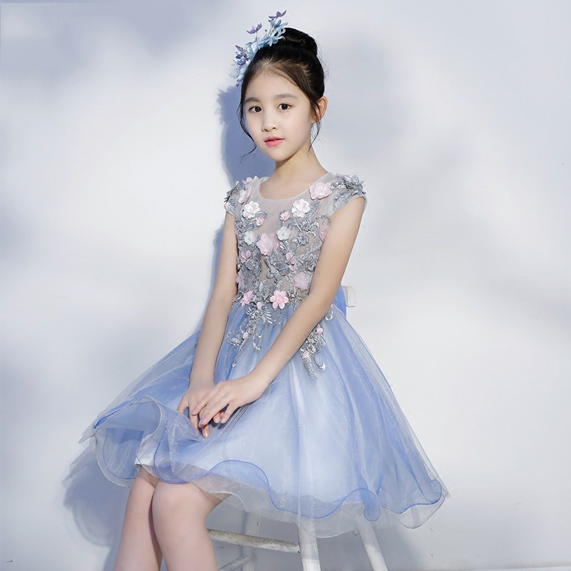 Floral Kids Pageant Dress for Birthday Costume Big Bowknot Flower Girl Dresses Party Gowns Short Girls Prom Dress B175