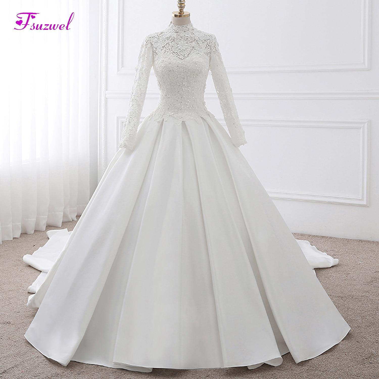 Fmogl Vestido De Noiva High Neck Lace Appliques A-Line Vintage Wedding Dress 2019 Luxury Beaded Matte Stain Princess Bridal Gown