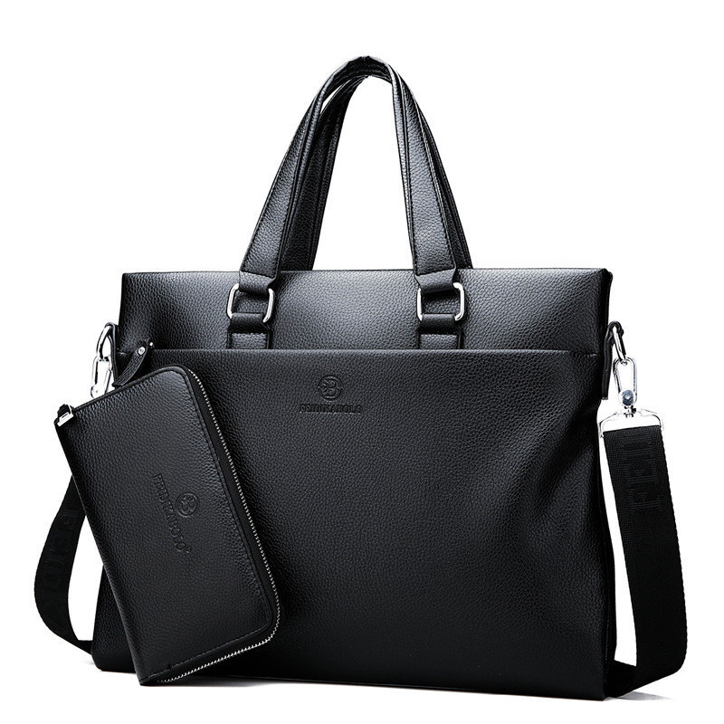 2018 New Men's Business Fashionable Soft Split Leather Cross Border Handbag Single Shoulder Skew Across Computer Bag