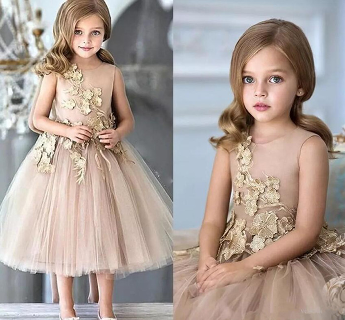 New Champagne Flower Girls Dresses For Weddings Sequins Appliques A Line Girls Pageant Gowns Kids Formal Wear Christmas Gown fashion high quality green elsa costume tutu style flower appliques christmas pageant dresses for girls