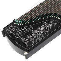 Imitation Ebony 10 Level Playing Guzheng Carved Models Chinese 21 Strings Zither Music Instrument with Full Set of Accessories