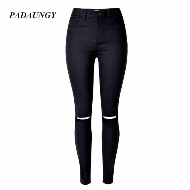 PADAUNGY Pencil Jeans Women Black Torn Skinny Denim Pants Summer Trouser Ankle Hole Plus Size Vaqueros Mujer Jean Femme Jeggings