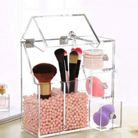 Acrylic Clear Makeup Brush Storage Box Plastic Makeup Organizer Cosmetic Tool Holder Home Acylic Cosmetic Brush Storage Box New