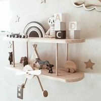 Scandinavian Style Large DIY Airplane Shelf Kit Wood Airplane Decor Wall Shelves Biplane Decoration For Baby And Child Room Gift