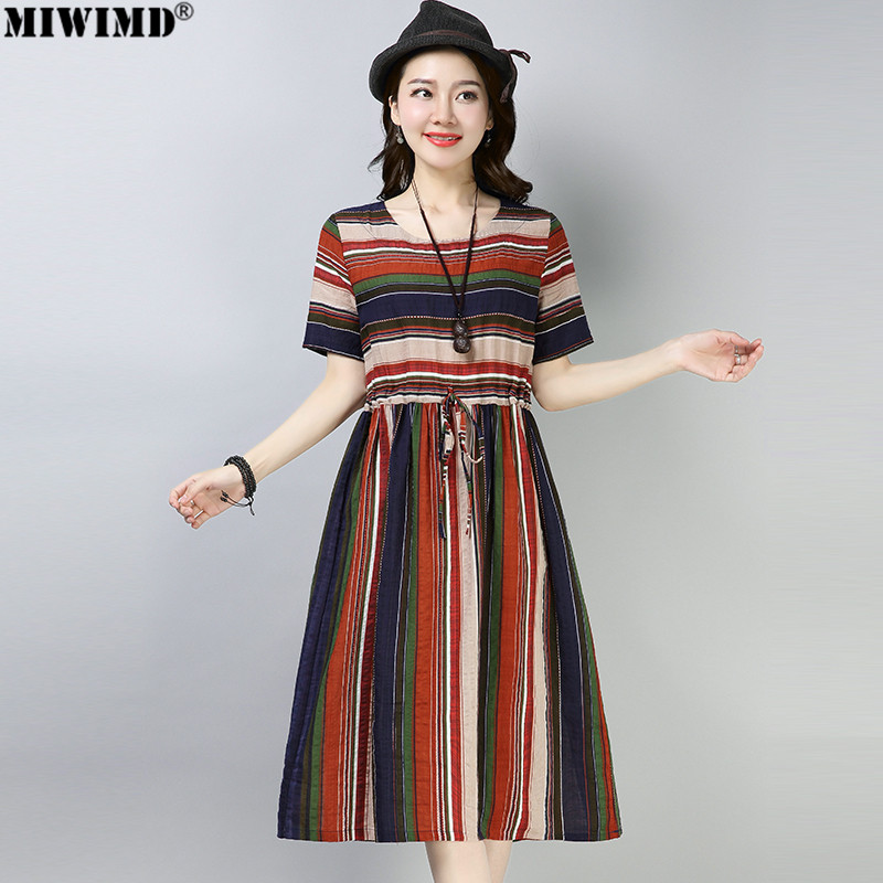 a38aae14ea3 MIWIMD Women Summer Dresses 2018 New Fashion Casual Loose Cotton Linen  Short Sleeve Print Striped Drawstring Dress Big Size
