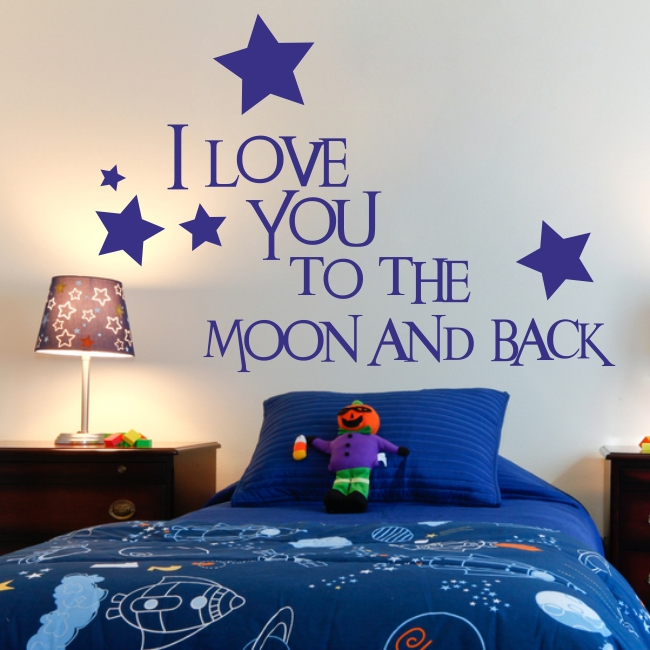 i love you to the moon and back nursery bedroom wall. Black Bedroom Furniture Sets. Home Design Ideas