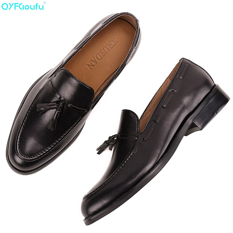 2019 New Brand Men Oxford Shoes Genuine Leather formal shoes Handmade Footwear Wedding Office luxury Men 39 s dress shoes in Formal Shoes from Shoes