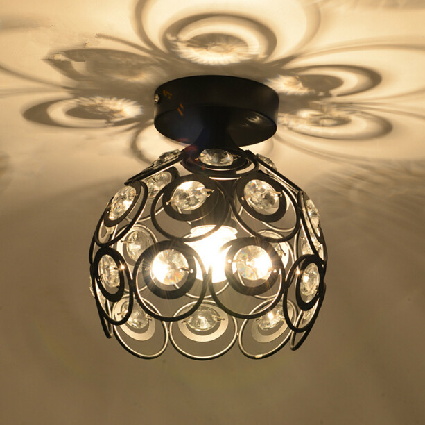 American Iron Crystal Aisle Ceiling Light Personality Creative Corridor Entrance Bathroom Balcony Ceiling Lamp Free Shipping japanese style tatami floor lamp aisle lights entrance corridor lights wood ceiling fixtures tatami wood ceiling aisle promotion