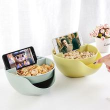 Convenience Double Layer Plastic Dry Fruit Food Containers Melon Seed Nut Bowl Candy Snack Storage Box With Phone stand